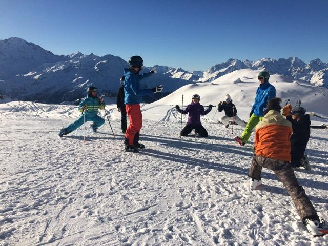 Instructors ski training in Verbier